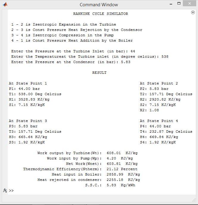 Rankine Cycle Simulator: Using MATLAB - Projects - Skill-Lync