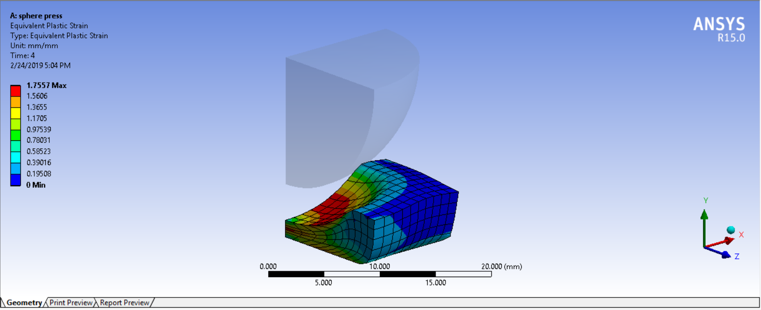 Analysis of Sphere pressing on a plate in Ansys Workbench